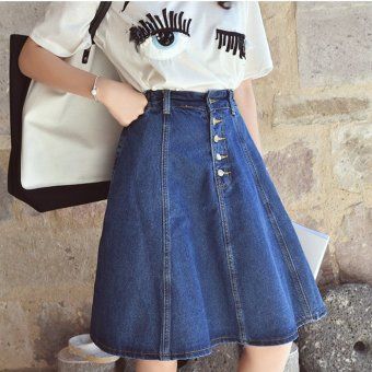 Harga Spring and summer new women korean institute of wind wild significant lanky waist skirt a word skirt skirts denim skirt female breasted