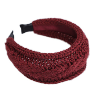 Harga Chic Weave Twist Knitting Wool Knitted Headband Hair Hoop Wine Red - intl
