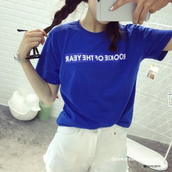Harga Summer new letters printed short sleeve t-shirt female loose korea institute of wind simple student sleeve shirt wild (129RO letter blue)