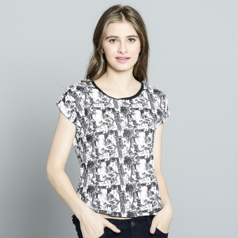 Harga Stamped Longback Casual Printed Top (White newsprint)