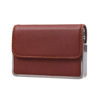 Premium Leather Business ID Credit Card Box Pocket Wallet Case Holder Brown