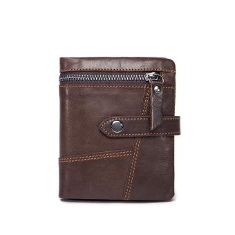 Harga Genuine Leather Men Wallets Leather Man Short Wallet Vintage - intl