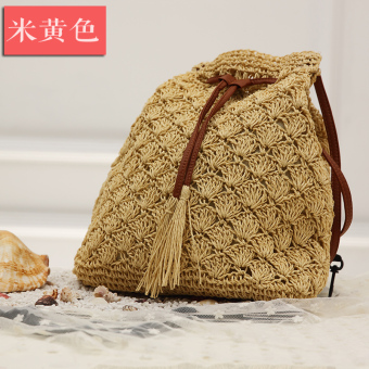 Small chili tide straw bag rattan bag beach bag woven bag handbag shoulder bag purse seaside resort (Beige version1)