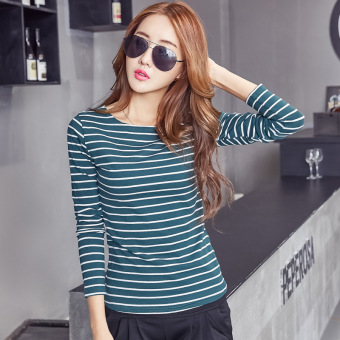 Harga Women's Fashion Korean New Stripes T-shirt Ladies Long-sleeved O-neck Tops Bottoming Clothing (Deep green) - intl