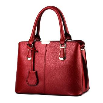 Harga niceEshop Womens Boutique PU Leather Shoulder Bags Top-Handle Handbag Tote Purse Bag Burgundy - intl