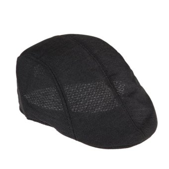 Mens Vintage Flat Cap Peaked Racing Hat Beret Country Golf Newsboy(Black)