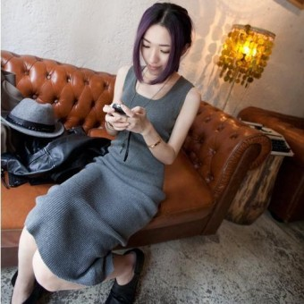 Harga New style stretch knit vest bottoming dress