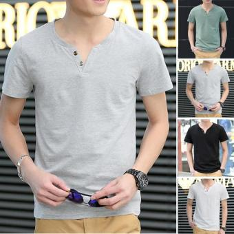 Clothingloves Fashion Solid Color V-Neck Short Sleeve Cotton Men's Casual T-Shirts (Gray) - intl