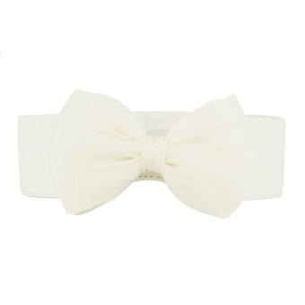 Harga Fashion Women Elastic Wide Stretch Buckle Bowknot Bow Waistband Waist Belt White - intl