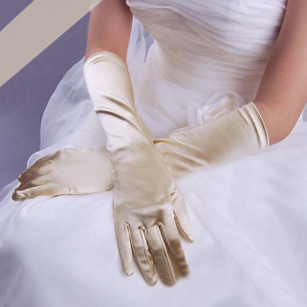 Harga Fashion Satin Long Gloves Opera Wedding Bridal Evening Party Costume Gloves White - intl