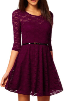 Harga Women Round Neck Elegant Sexy O Neck 3/4 Sleeve Lace Dress (Violet)