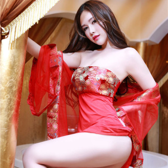 Harga Red tang dynasty royal costume super sexy mesh pajamas kimono style wedding classical dress uniform temptation suit