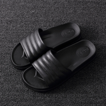Bathroom slippers female summer home indoor lovers slip bath sandals and slippers word drag shoes male tide summer thick crust (Black)
