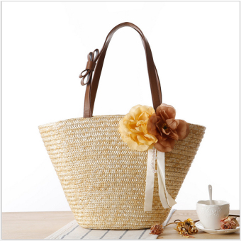 Simple and elegant seaside resort straw embroidered beach bag