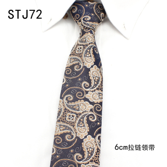 Harga Xin na men narrow version of the korean version of the lazy zipper tie easy to pull tie groom wedding dress business 6CM (STJ72)