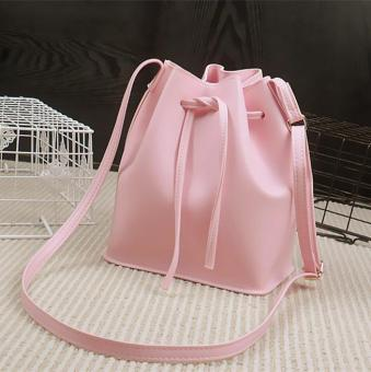 Harga Leather Drawstring Bag Crossbody Shoulder Bucket Messenger Handbag (Pink) - intl