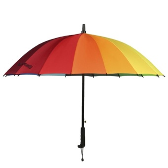 Harga 16 bone large straight Rainbow Umbrella skillet double three automatic open the Carom bu qing rain color umbrella