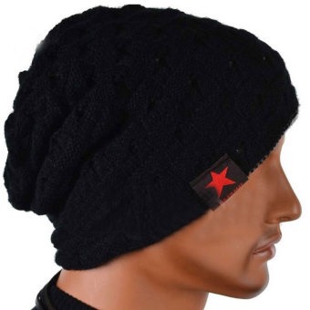 Women Men Unisex Warm Winter Skull Knitted Hat Baggy Beanie Hip-hop Cap Black