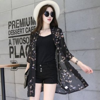 Harga Summer sunscreen chiffon shirt women's cardigan long sleeve sun protection clothing transparent sun protection clothing thin coat shawl (No. 8)