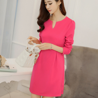 Harga Diana Korean-style color Slim fit Slimming effect bottoming dress