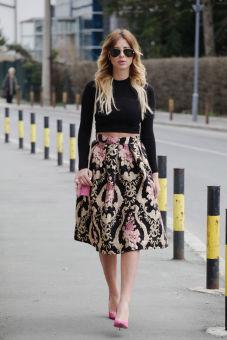 Women Floral High Waist Pleated Party A-Line Midi Skater Skirt