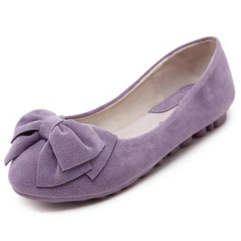 Harga Women Fashion Round Toe Flat Boat Shoes (Purple) - intl
