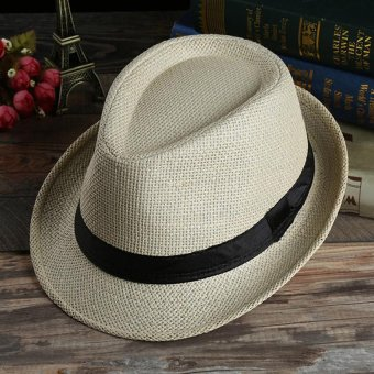 Unisex Summer Beach Jazz Hat Wide Brim Beach Cap Sun Trilby Fedora Straw Hat-Light Beige