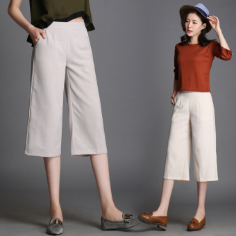 Harga Spring and summer seventh pants wide leg pants female summer loose big yards wide leg pants high waist casual pants straight pants 7 the influx of (Light gray)