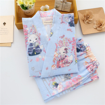 Harga Summer and autumn japanese style kimono lady sweet floral casual cotton pajamas tracksuit sweat steaming gauze suit (Japanese blue wisteria fox pajamas pants)