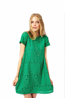 Harga Summer O-Neck Lace Dress (Green)