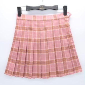 Harga 2017 version of the new high waisted half length skirt Institute wind A word lattice female tennis skirt pleated skirt??pink?? - intl