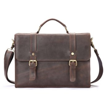 Harga Men New Head Cow Leather Bag Handbag Retro Business Briefcase Bag Size:34*6*25cm - intl