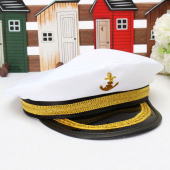 Harga Yacht Captain Skipper Sailor Boat Marine Anchor Cap Navy Hat Costume Party Dress - Intl
