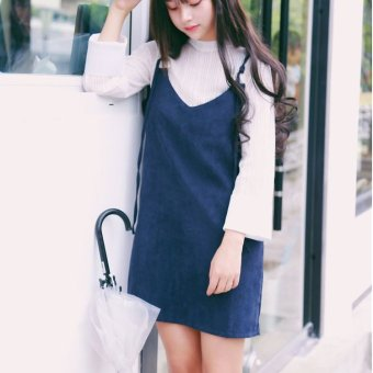 Harga Oh spring new korean institute of wind wild t-shirt female long sleeve + vest harness dress a word skirt piece set (Navy blue)