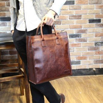 Harga Tidog Crazy horse leather handbag male vertical section inclined shoulder bag business bag - intl