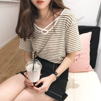 Harga Chic Han Feng short-sleeved Top female Korean-style tide student loose BF ulzzang wild striped Hong Kong flavor T-shirt female (Khaki)