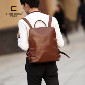 Harga British institute of retro style shoulder bag korean version of the influx of men and women middle school STUDENTS school bag leather leisure backpack computer bag (Coffee color)
