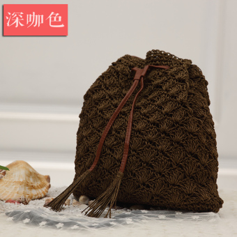 Small chili tide straw bag rattan bag beach bag woven bag handbag shoulder bag purse seaside resort (Dark coffee color)