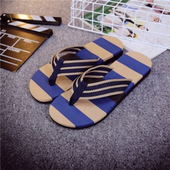 Summer tide slippers men's sandals and slippers flip tide male Korean non-slip personalized beach summer word drag male big yards (Blue)