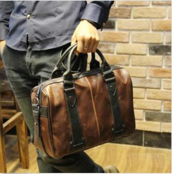 Harga Men's Vintage Brown Leather Handbag Business Bag Shoulder Laptop Bag Briefcase - Intl