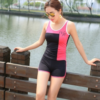 2017 new swimsuit female split swimsuit boxer big yards conservative was thin girls sports swimming clothing dress (Rose red + black)