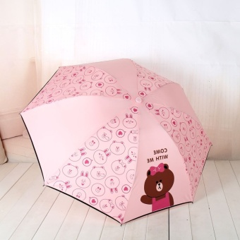 Harga Line friends brown bears can Ni rabbit cartoon animal explosion models three fold Sun Rain or shine umbrella fold SUN umbrella (Pink (no vinyl)