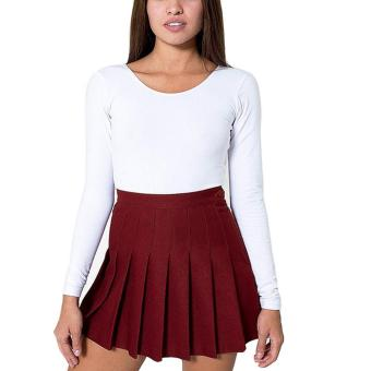 Sexy Women's High Waisted Solid Pleated Mini Tennis Skater Skirt - intl
