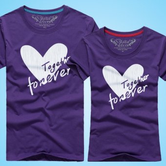 Harga Digital lovers Korean-style men and women love text couple shirt