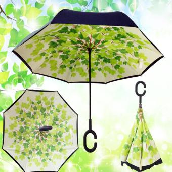 Harga NEW Fashion C-Shaped Hands free Handle Double Layer Inverted Windproof Folding Umbrella - intl