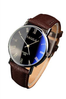 Harga Luxury Faux Leather Quartz Analog Brown Mens Watch