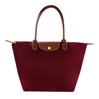 Harga Foldable Tote Bag Nylon / Foldable Shoulder Bag Nylon (Maroon) Medium Size