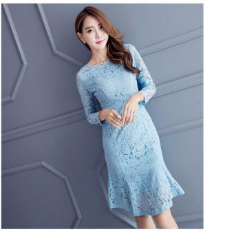 Harga Lace Mermaid Dress-Blue
