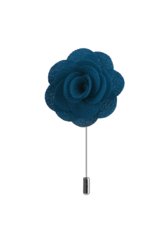 Handmade Fabric China Rose Lapel Men Brooch Boutonniere Tuxedo Pin Sea Blue