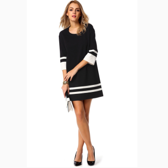 Harga Toprank Cyber Women Casual Slim Dress Round Neck 3/4 Sleeve Patchwork Contrast Color Straight Party Dress (Black) - intl